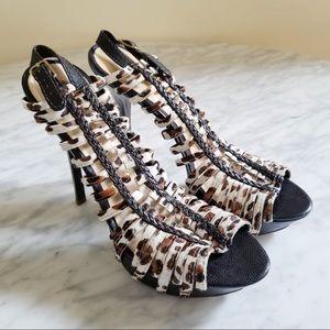 L.A.M.B Platform Cowhide Sandals